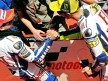 Valentino Rossi and Jorge Lorenzo at the parc fermé in Montmeló