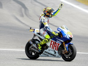 Valentino Rossi celebrates win in Catalunya