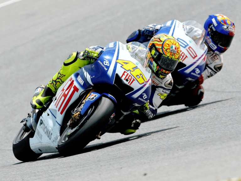 Valentino Rossi riding ahead of Jorge Lorenzo during the race at Catalunya Circuit