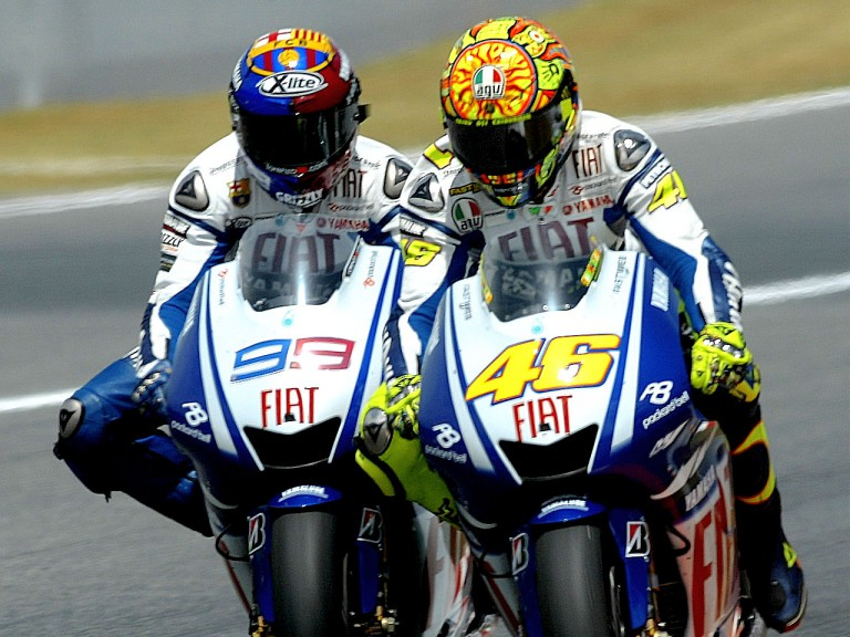 Yamaha´s Valentino Rossi and Jorge Lorenzo at Catalunya Circuit