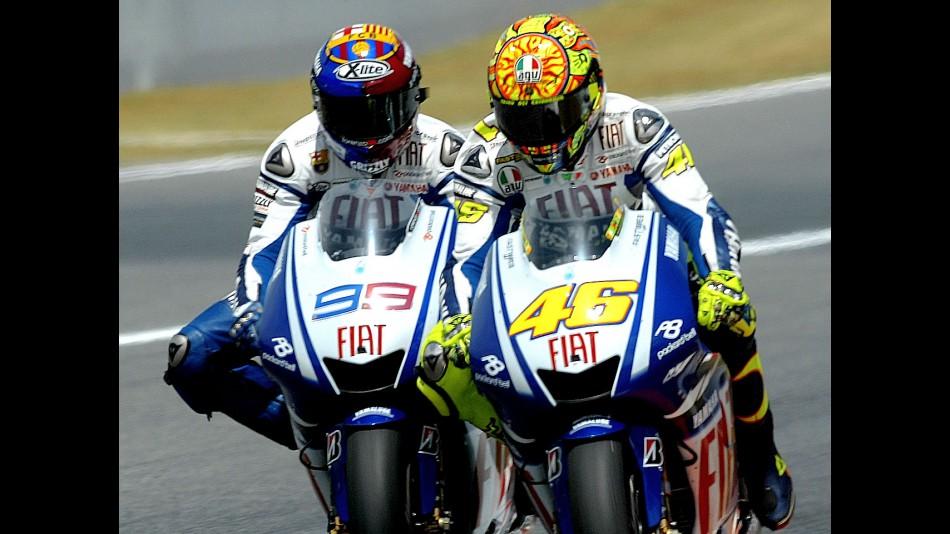 Yamaha´s Valentino Rossi and Jorge Lorenzo at Catalunya Circuit