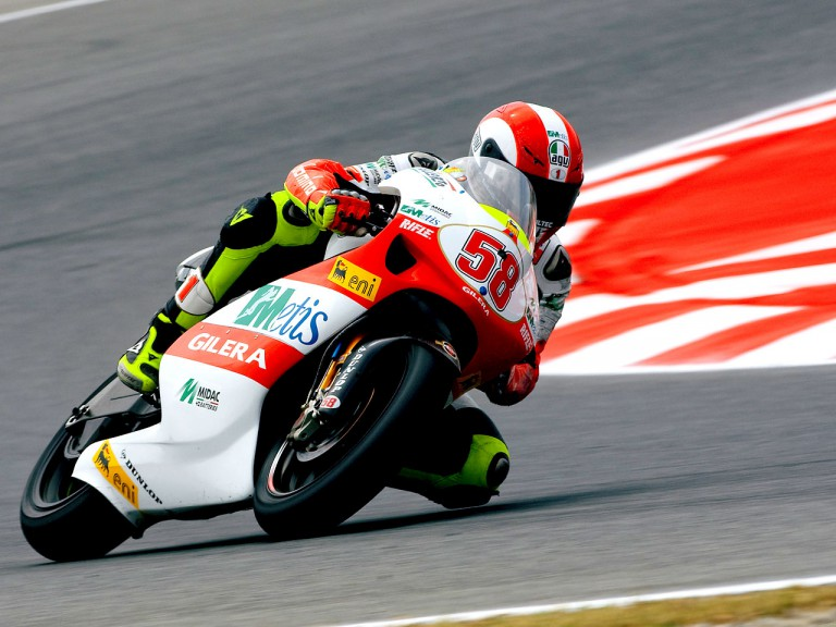 Marco Simoncelli in action in Montmeló