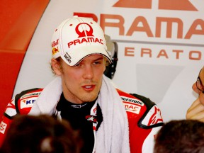 Mika Kallio in the Pramac Racing garage