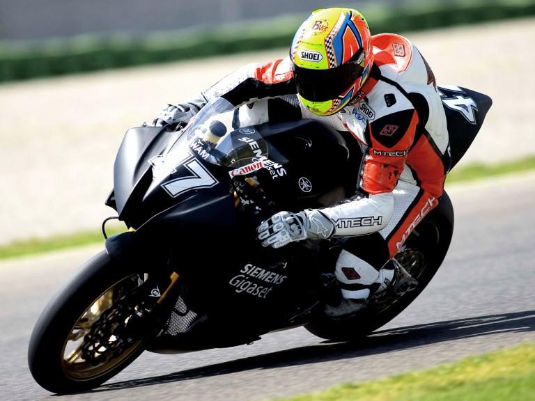 Roberto Rolfo testing Moto2 bike of Team Siemens Gigaset Laglisse in Valencia