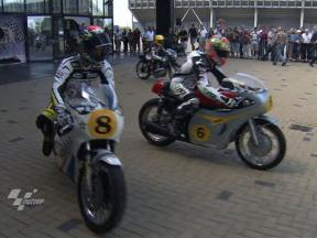 MotoGP riders at Assen vintage bike event