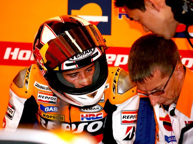Andrea Dovizioso in the Repsol Honda garage