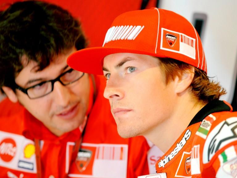 Nicky Hayden in the Ducati Marlboro garage