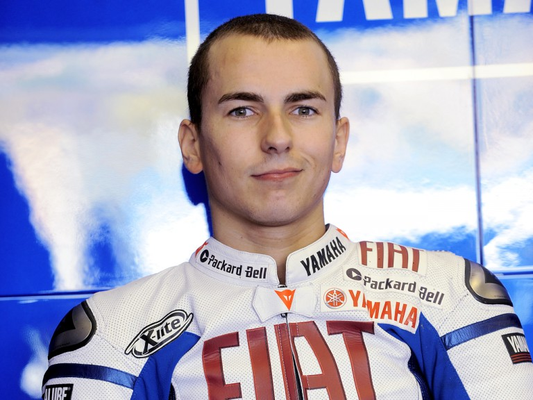 Jorge Lorenzo in the Fiat Yamaha garage