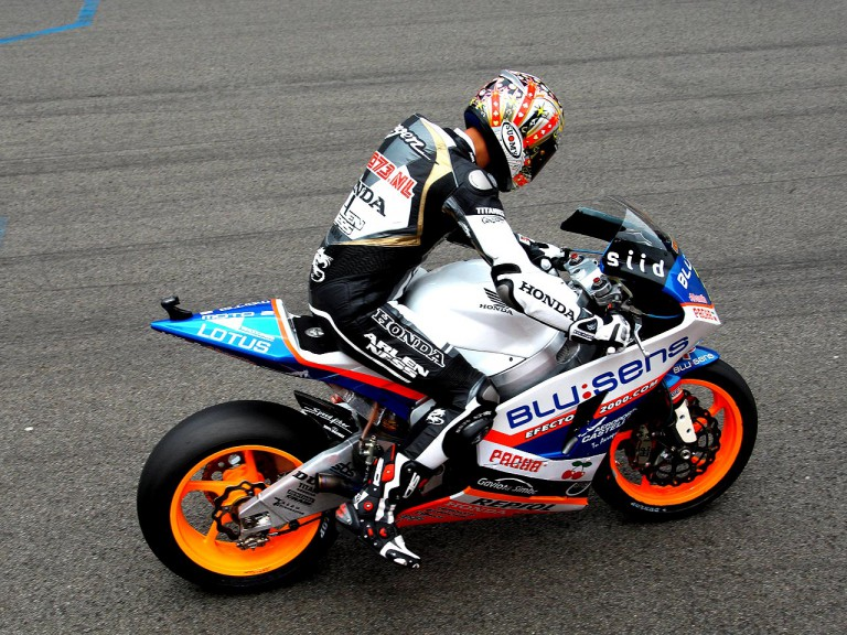 Dutch former MotoGP rider Jurgen van den Goorbergh riding Moto2 bike