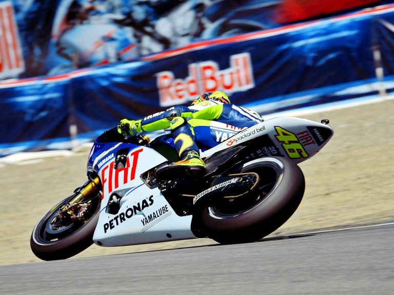 Valentino Rossi in action in Laguna Seca