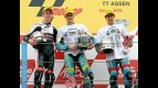 Nico Terol, Sergio Gadea and Julian Simon on the podium at Assen