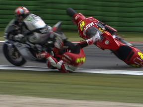 Alvaro Bautista crash during race in Assen