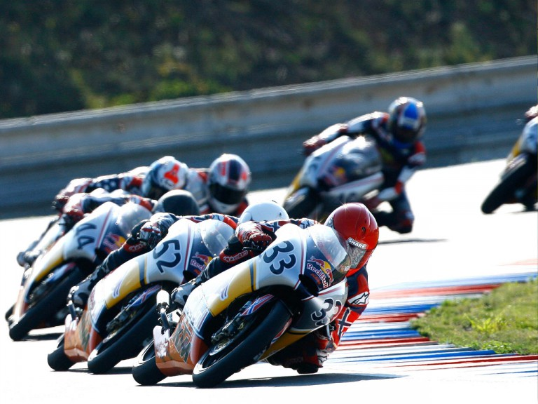 Sturla Fagerhaug riding ahead of Red Bull Rookies group