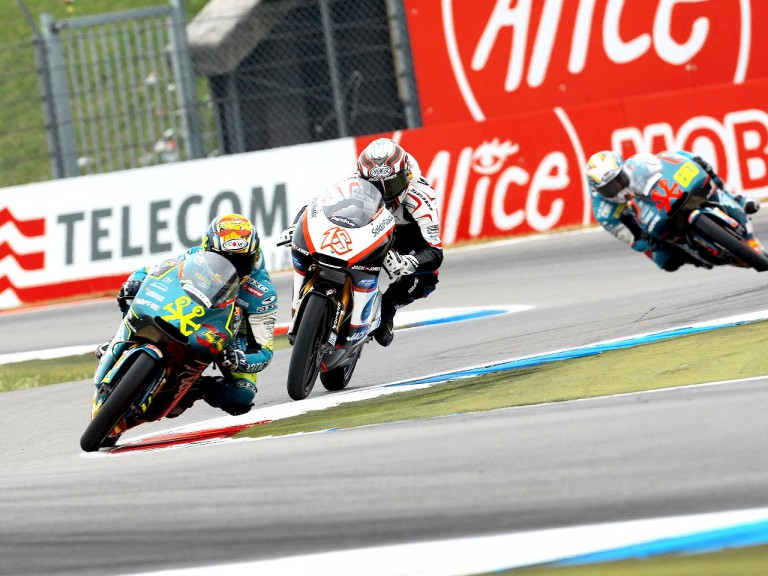 Sergio Gadea riding ahead of Nico Terol and Julian Simon in Assen
