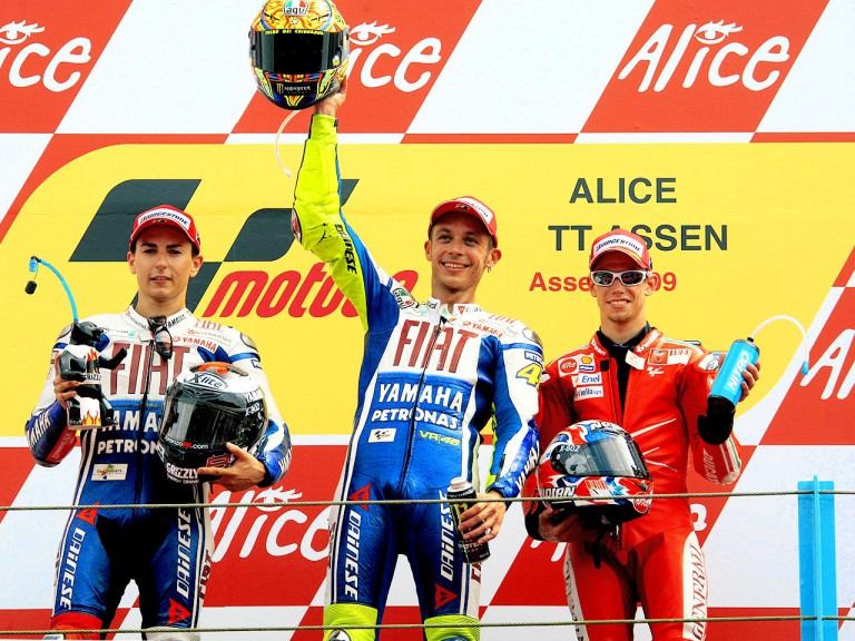 Jorge Lorenzo, Valentino ROssi and Casey Stoner on the podium in Assen