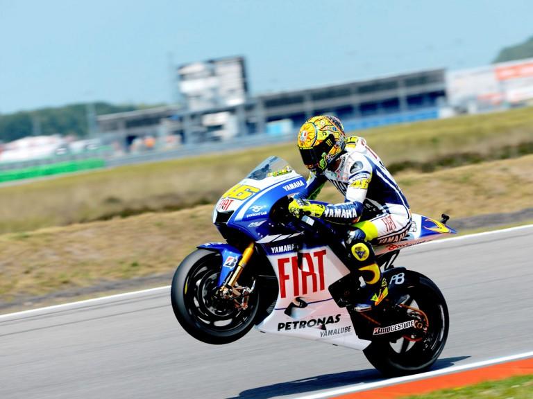 Valentino Rossi pulls off a wheelie in Assen