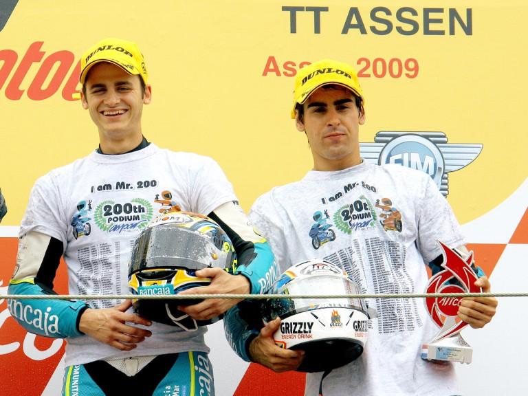 Bancaja Aspar riders Sergio Gadea and Julián Simón on the podium in Assen