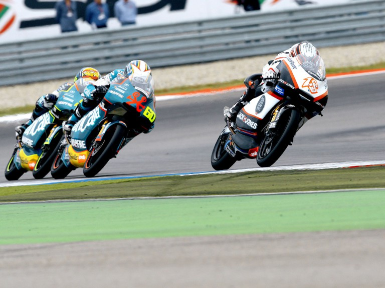 Nico Terol riding ahead of Julian Simon and Sergio Gadea in Assen