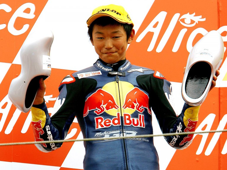 Red Bull MotoGP Rookie Dajiro Hiura on the podium at Assen