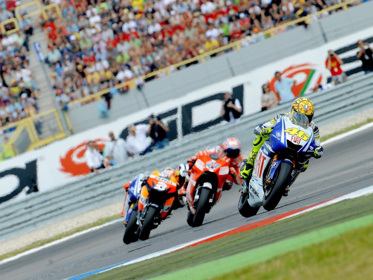 Valentino Rossi riding ahead of MotoGP group in Assen