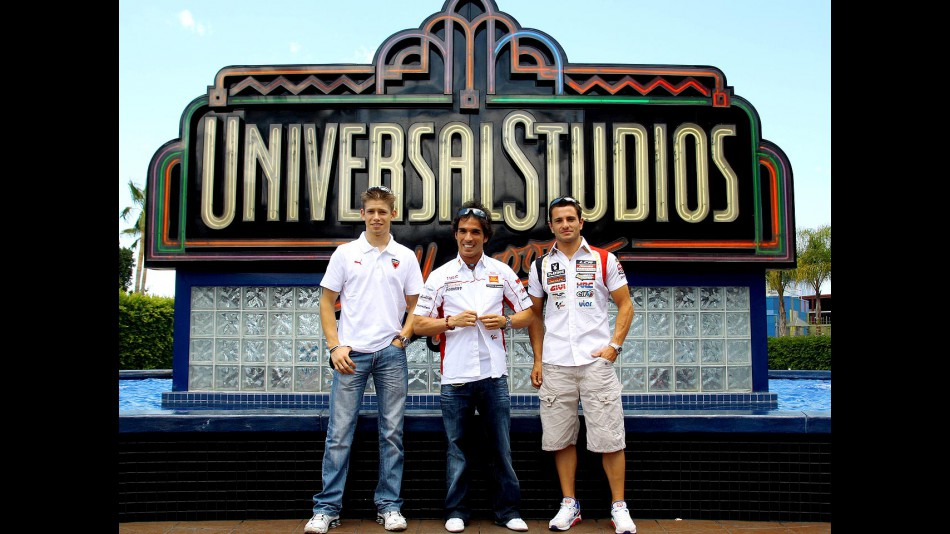 Casey Stoner, Toni Elías and Randy de Puniet visit Universal Studios Hollywood