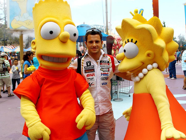 Randy de Puniet with Bart and Lisa Simpson at Universal Studios Hollywood