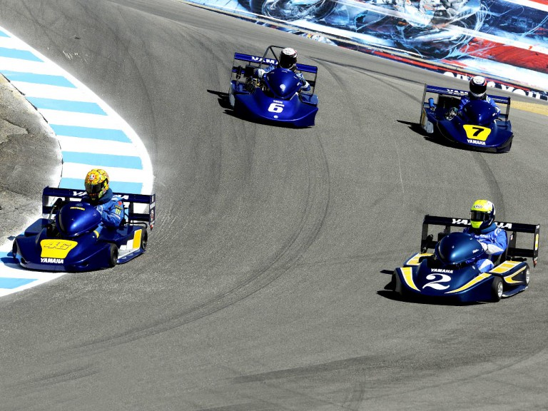 Lawson, Rainey, Roberts and Rossi in SuperKart action at Laguna