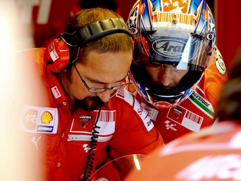Nicky Hayden in the Ducati garage