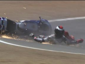 Jorge Lorenzo crash during QP in Laguna Seca