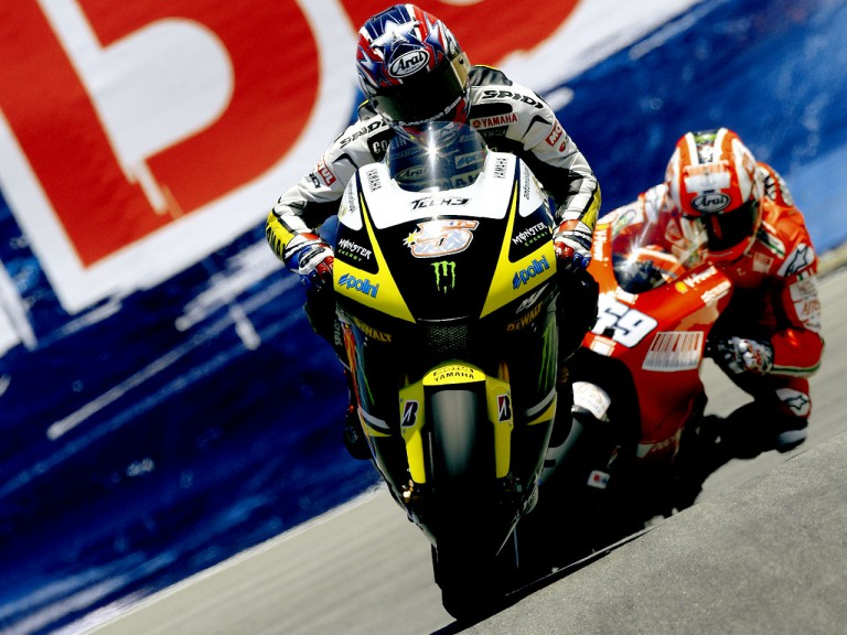 Colin Edwards riding ahead of Nicky Hayden at the Red Bull U.S. Grand Prix