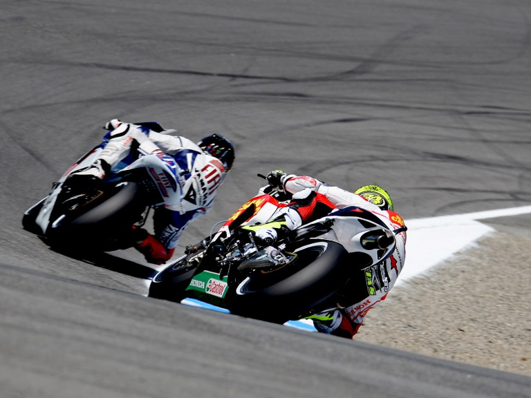 Jorge Lorenzo riding ahead of Toni ELias at the Red Bull U.S. Grand Prix