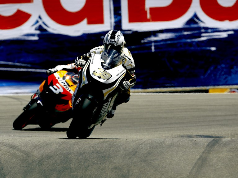 Sete Gibernau riding ahead of Dani Pedrosa at the Red Bull U.S. Grand Prix