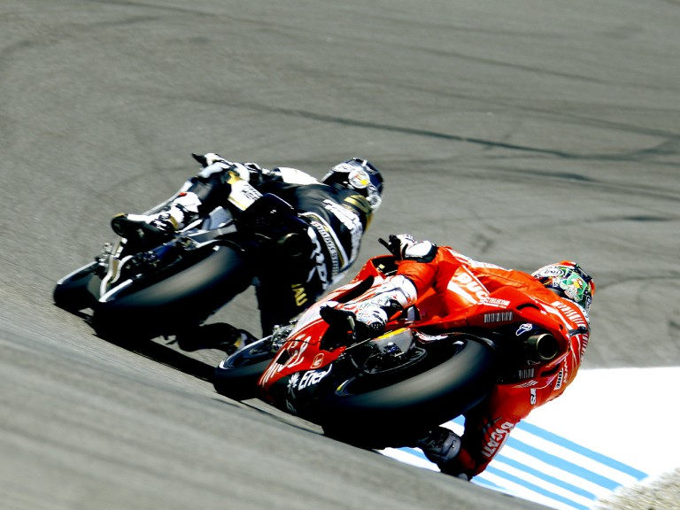 Sete Gibernau riding ahead of Nicky Hayden at the Red Bull U.S. Grand Prix