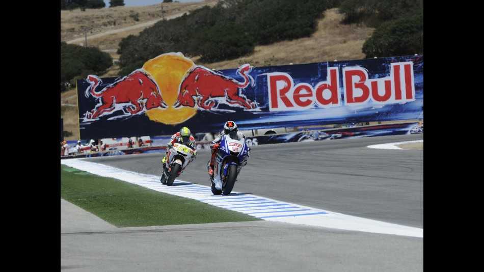 Lorenzo and Elias during the FP1 session at Laguna Seca