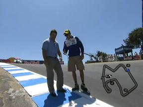 Valentino Rossi inspects the Corkscrew at Laguna Seca for motogp.com