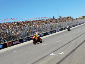 Dani Pedrosa riding ahead of Valentino Rossi at the Red Bull U.S. Grand Prix
