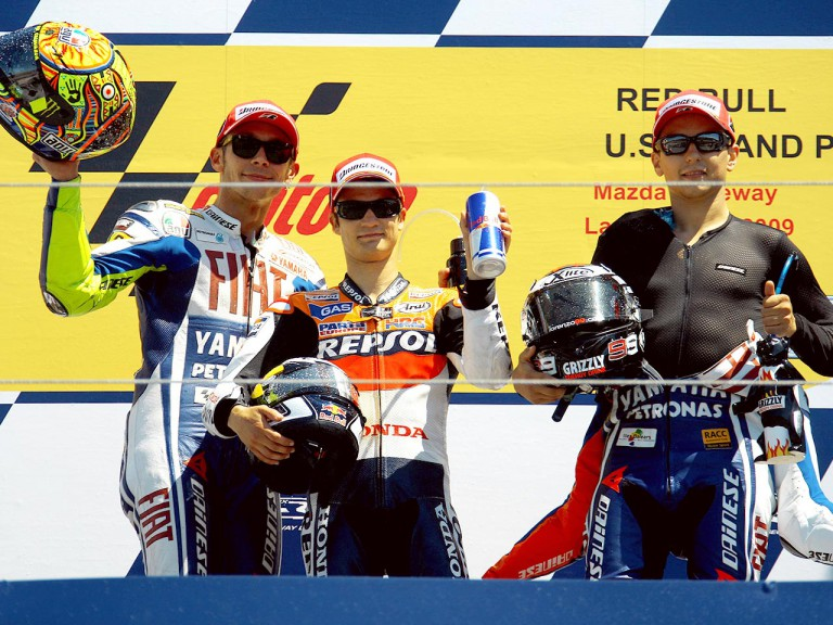 Valentino Rossi, Dani Pedrosa and Jorge Lorenzo on the podium at the Red Bull U.S. Grand Prix