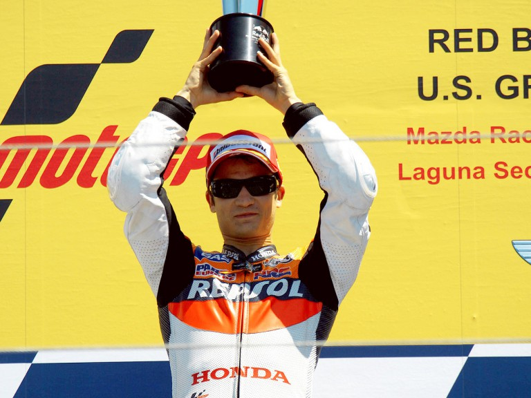 Dani Pedrosa on the podium at the Red Bull U.S. Grand Prix