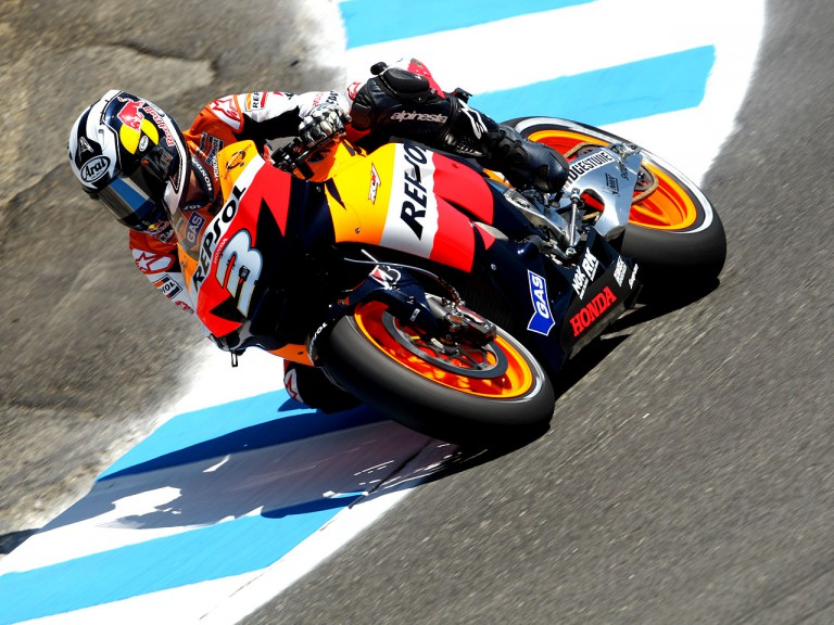 Dani Pedrosa in action at the Red Bull U.S. Grand Prix