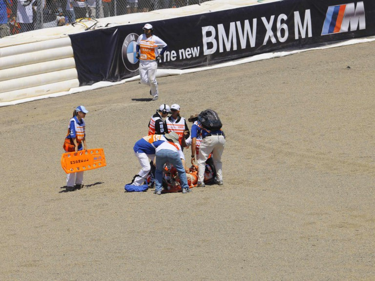 Casey Stoner crashes at the Red Bull U.S. Grand Prix