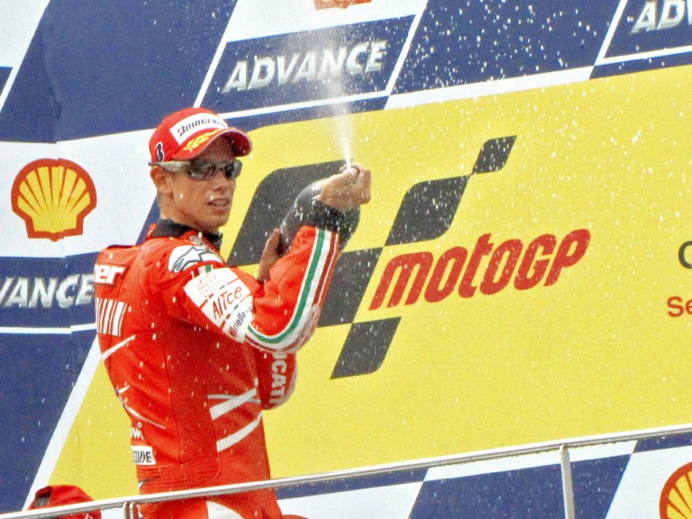 Casey Stoner on the podium at Sepang