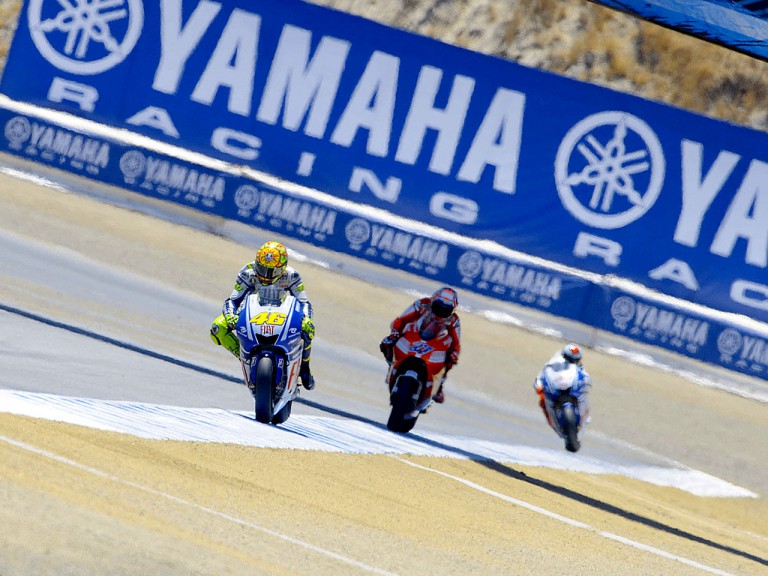 Rossi ahead of Stoner and Lorenzo at Laguna Seca