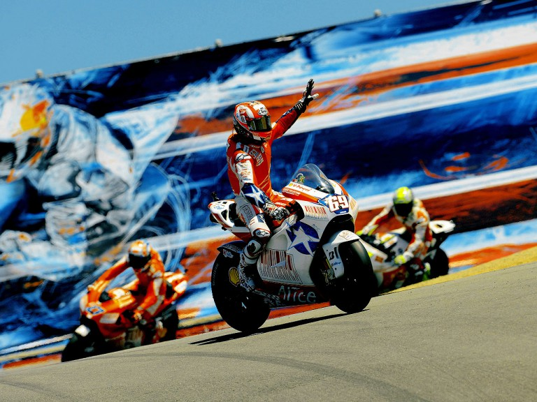 Local hero Nicky Hayden at the end of the Red Bull U.S. Grand Prix