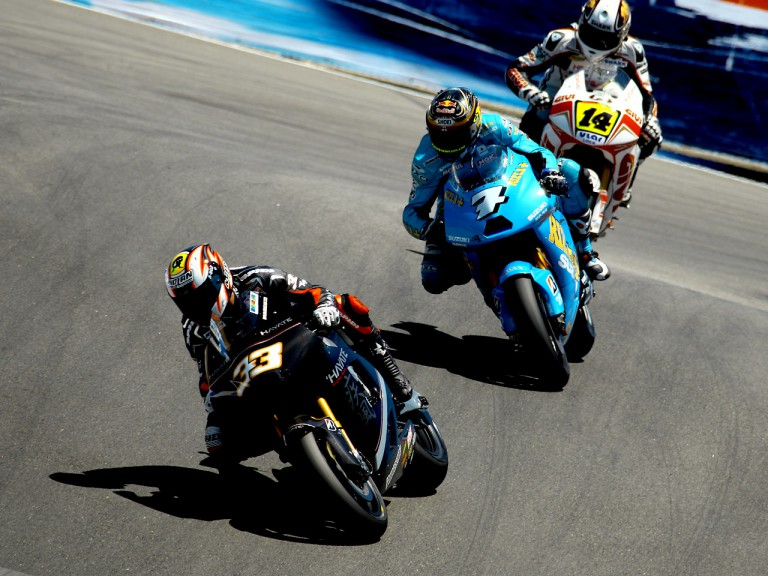 Marco Melandri riding ahead of Vermeulen and De Puniet  at the Red Bull U.S. Grand Prix