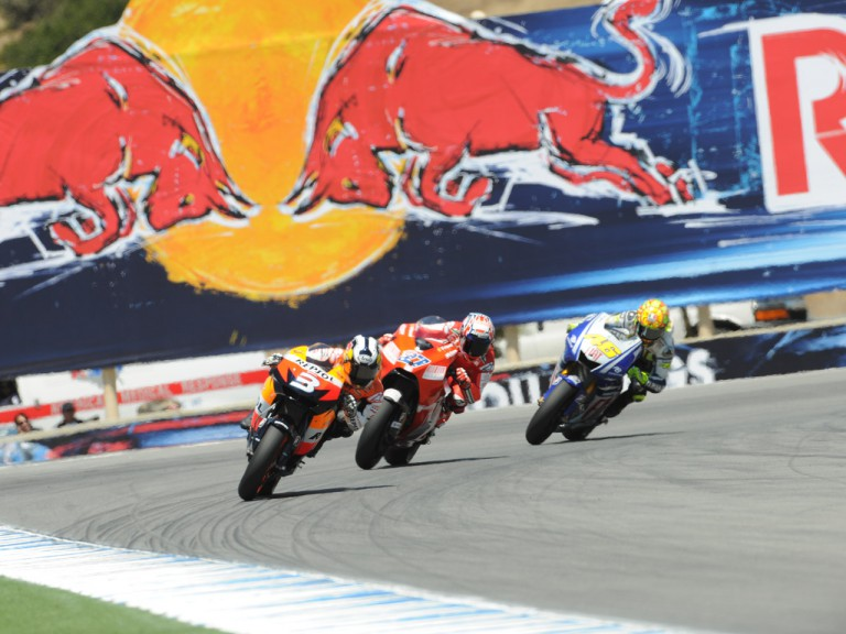 Pedrosa ahead of Stoner and Rossi at the Red Bull U.S. Grand Prix