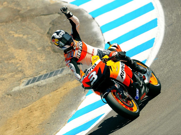 Pedrosa salutes the crowd after winning the Red Bull U.S. Grand Prix