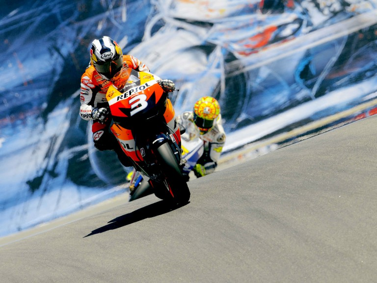 Pedrosa and Rossi at the Corkscrew in Laguna Seca