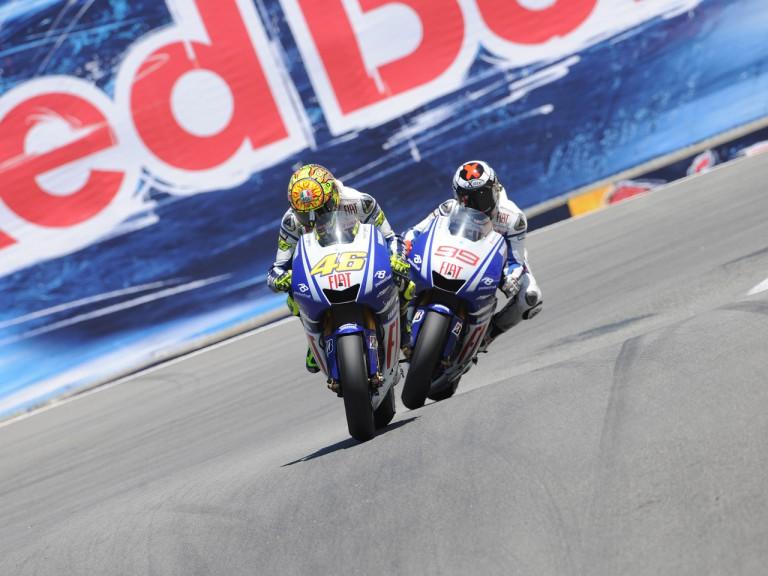 Rossi and Lorenzo at the Corkscrew in Laguna Seca