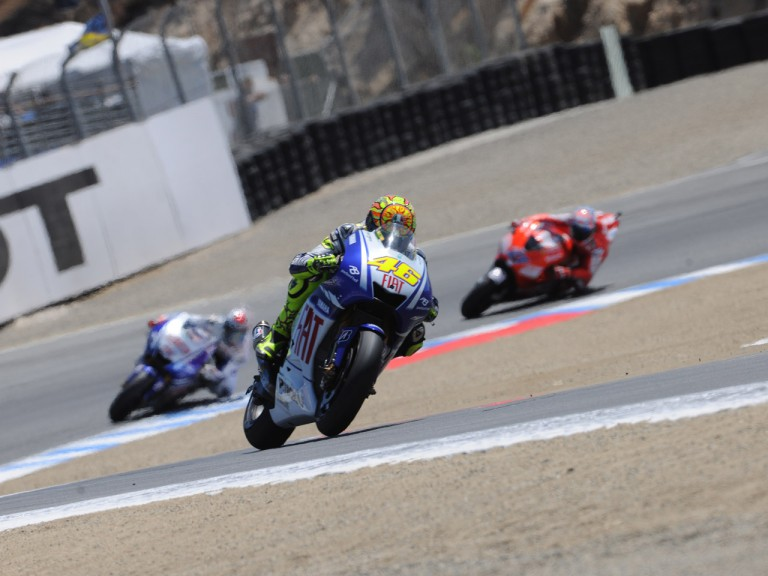 Rossi ahead of Lorenzo and Stoner at Laguna Seca