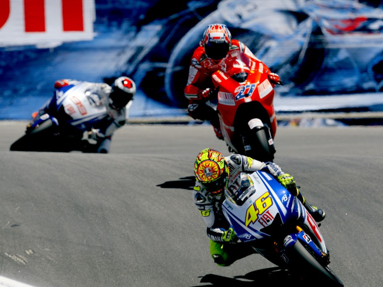 Rossi riding ahead of Stoner and Lorenzo at the Red Bull U.S. Grand Prix